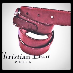 Vintage Dior Brown leather Skinny belt